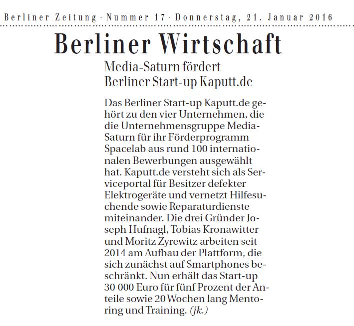 kaputt.de in der Berliner Zeitung