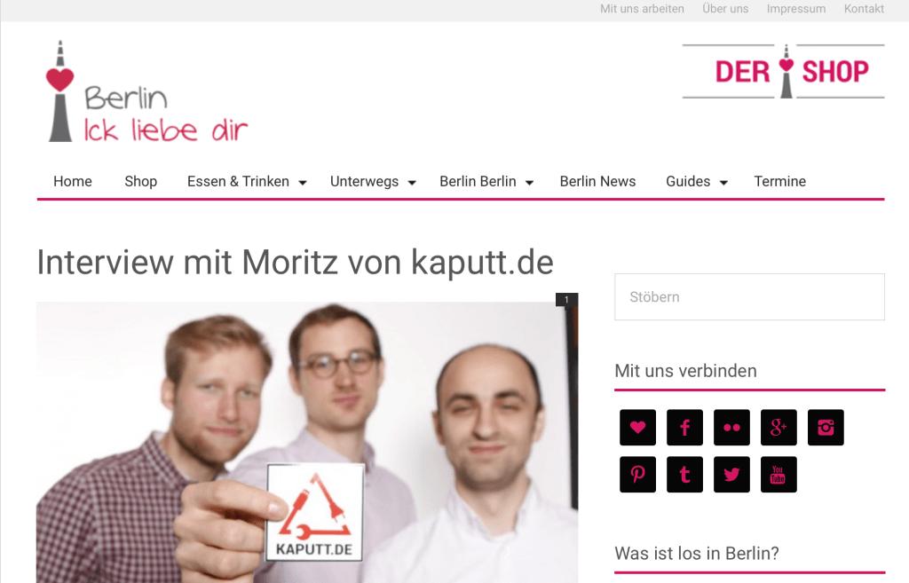 Interview mit Moritz bei Berlin Ick Liebe Dir