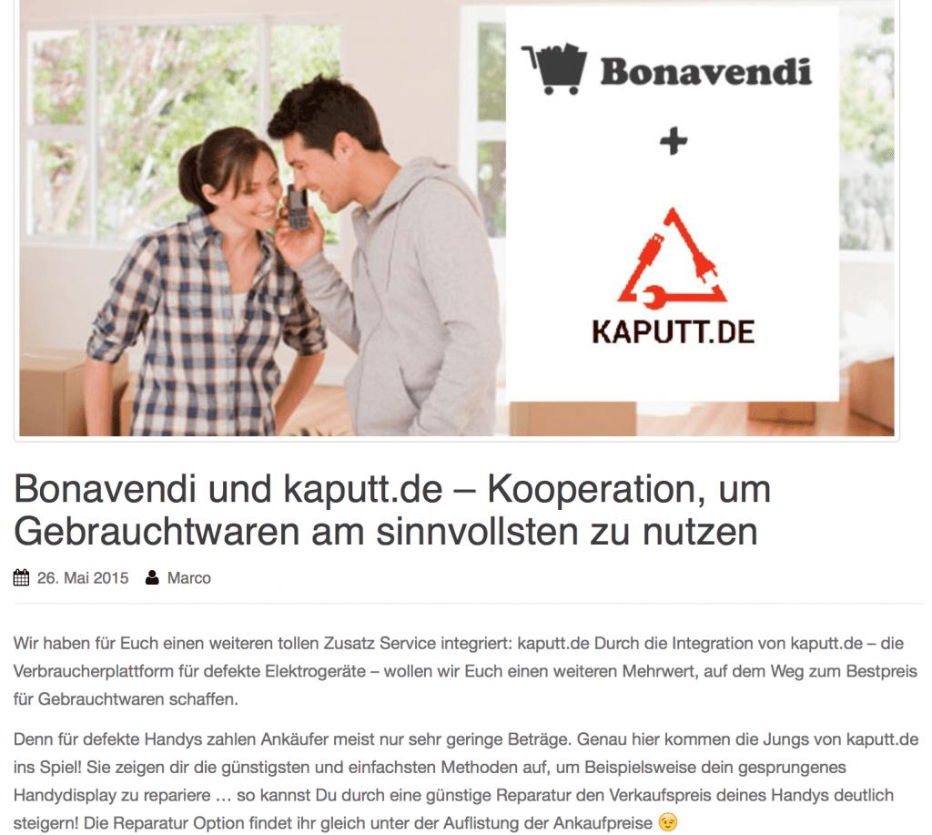 Kooperation kaputt.de und Bonavendi